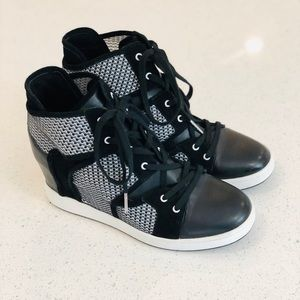 L.A.M.B. black and white wedge sneakers
